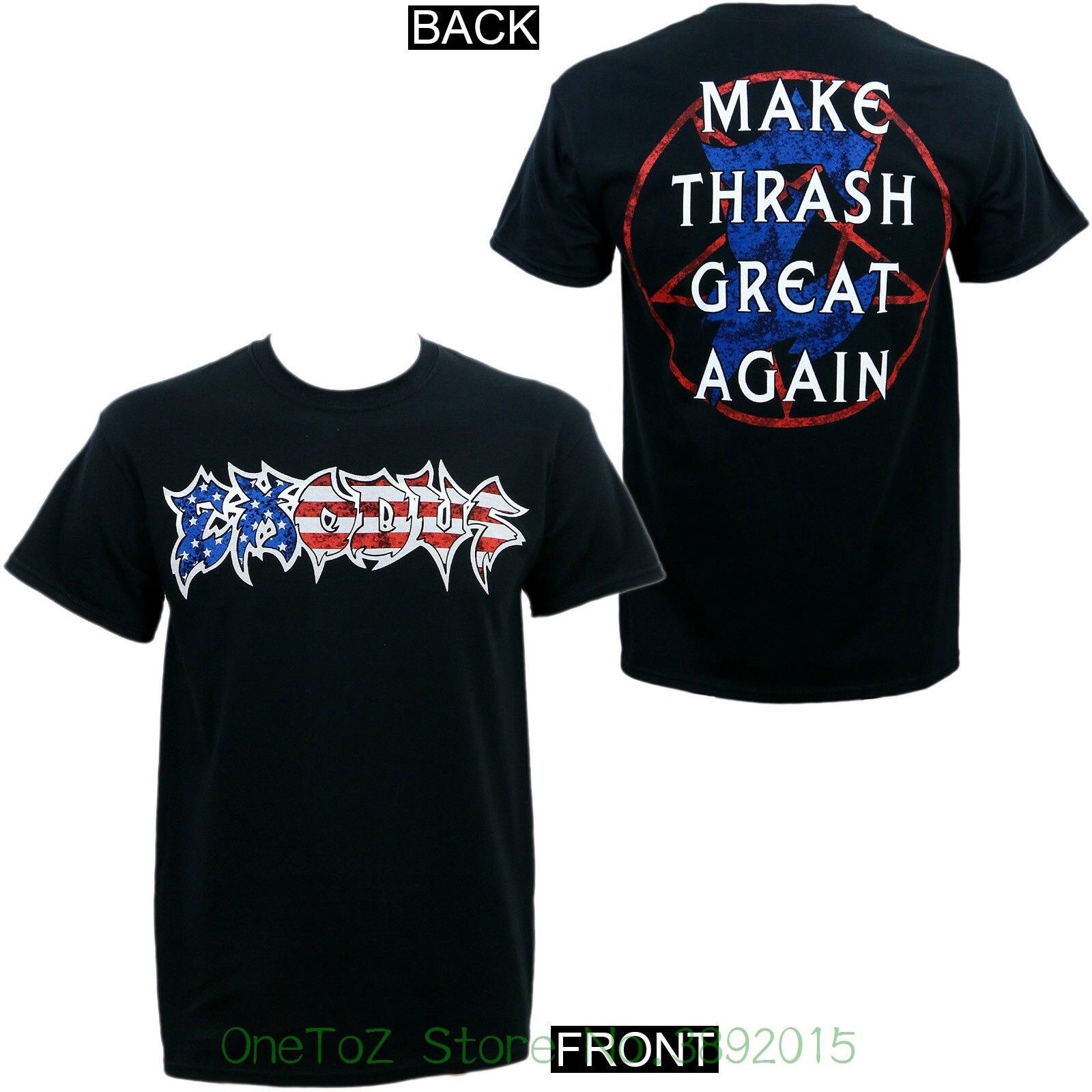 Sleeve Harajuku Tops Authentic Exodus Band Make Thrash Great Again American Logo T-shirt S - 2xl New
