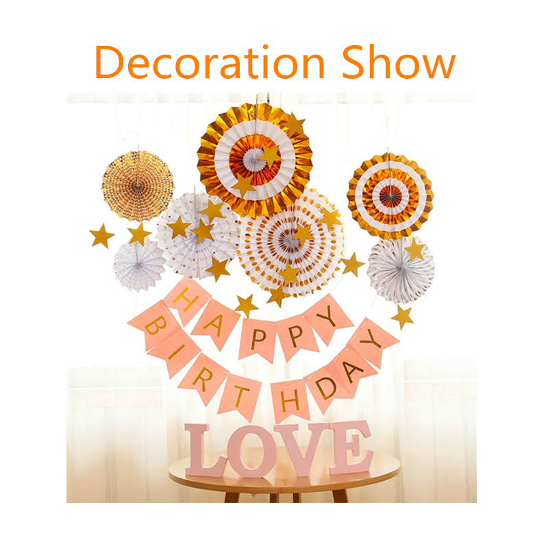 Image 5 - 8pcs Gold Silver Rosettes Pom Wheels Ivory and Gold Pinwheels Party Paper Fans Rosettes Photo Backdrop Wedding Decoration-in Party Backdrops from Home & Garden