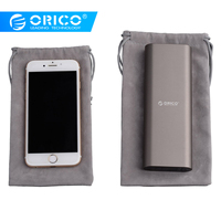 ORICO Phone Storage Velvet Bag Storage for USB Charger/USB Cable/Power Bank/Phone and More Gray Color bag power orico bag storage for bags -