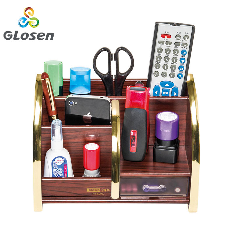 Glosen Pen Holder C2022 Desk New Fashion Multi Function Wood Made Desk Storage Box Office Supplies Stationery Pens Holder