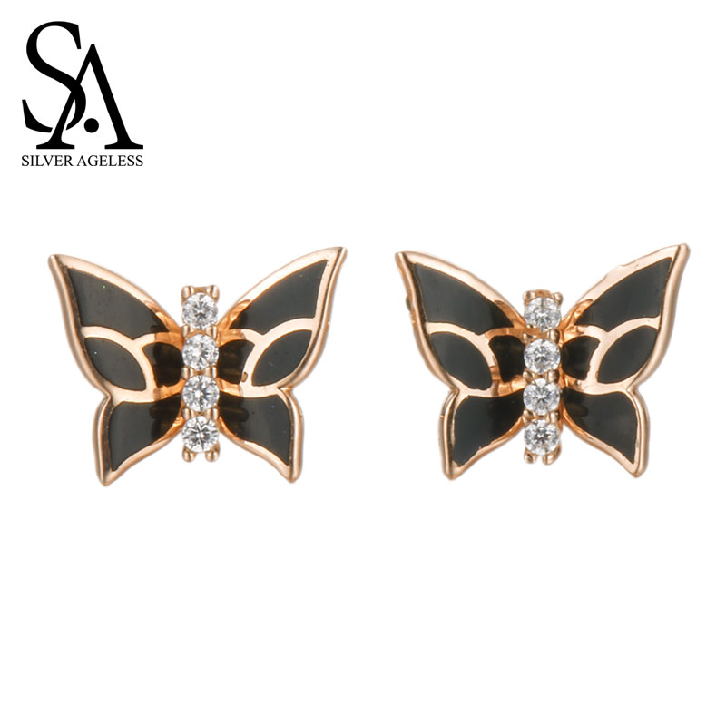 SILVER AGELESS 18K Rose Gold Black Butterfly Stud Earrings for Women Fine Jewelry 2017 New Arrival yoursfs charms rhinestone rose stud earrings 18k gold plated fashion cz jewelry delicate crystal rose women stud earrings for wom