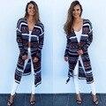 2016 Nueva Mujer Bohemia Rayada Impreso Larga Abrigos Femeninos Chaqueta de Moda Otoño Ladies Formal Outer Wear Vestidos De Gala