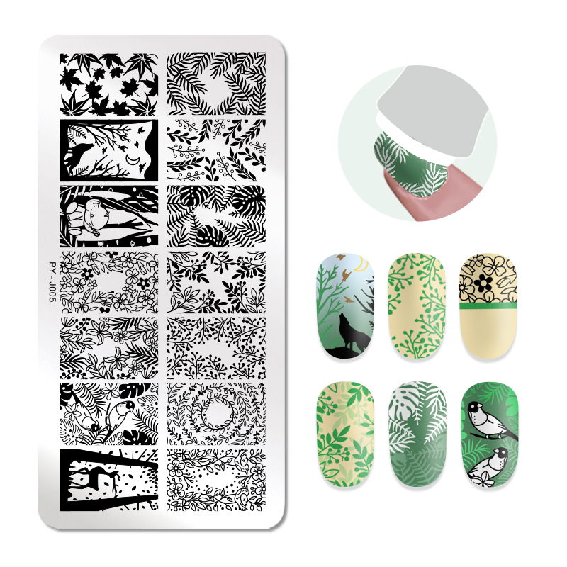 PICT YOU Rectangle Leaves Design Nail Stamping Plates Flower Patterns Natural 12cm 6cm Nail Art Image Templates Stamp Nails in Nail Art Templates from Beauty Health