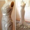 Luxo Cristal Sereia Vestidos de baile 2016 Vestidos de Noite Com Cristal Lace Apliques Sheer Pescoço Bridal Party Sexy Cliente Fez