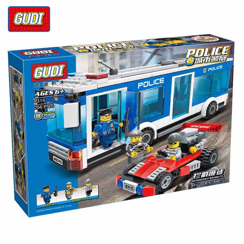 GUDI  256PCS City Police Policeman Intercept Bandit Model Building Blocks Police Bus Model Bricks Educational Toys For Kids Gift city series police car motorcycle building blocks policeman models toys for children boy gifts compatible with legoeinglys 26014