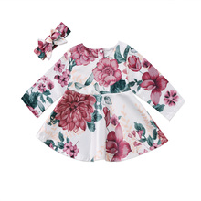 Pudcoco 2017 Newborn Baby Girls Long Sleeve Floral Dresses 2PCS Outfits Kids Casual Headband Clothes 0-24M