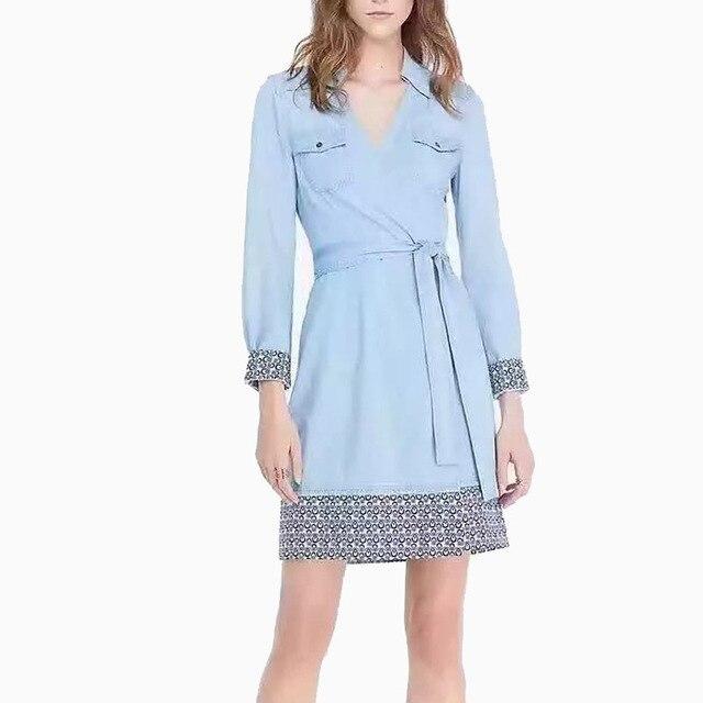 2016 Женщины Vintage Denim Сращены Пальто V-образным Вырезом Пояса Карманы Длинное Пальто Британский Стиль Женский Уличная Повседневная Пиджаки Топы
