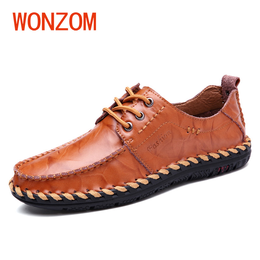 WONZOM 2018 New Fashion Men Casual Shoes High Quality Leather Loafers Breathable Male Flat Driving Moccasins Black Red Brown branded men s penny loafes casual men s full grain leather emboss crocodile boat shoes slip on breathable moccasin driving shoes