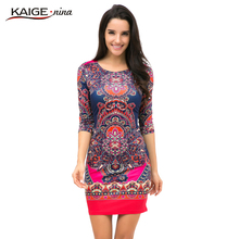 Kaige.Nina New Women's Vestidos Fashion Printing Style 5 Minutes Of Sleeve O-Neck No Decoration Sheath Mini autumn dress 1618