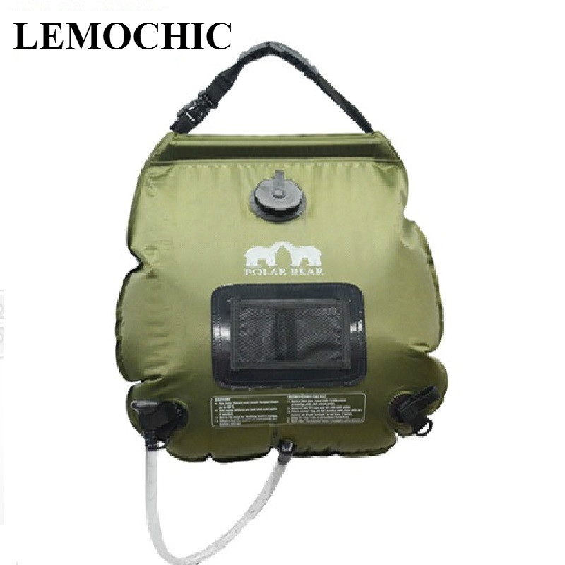 High quality Summer 20L outdoor camping hiking driving bicycle tour solar heating with Folding Shower Bag Hot water