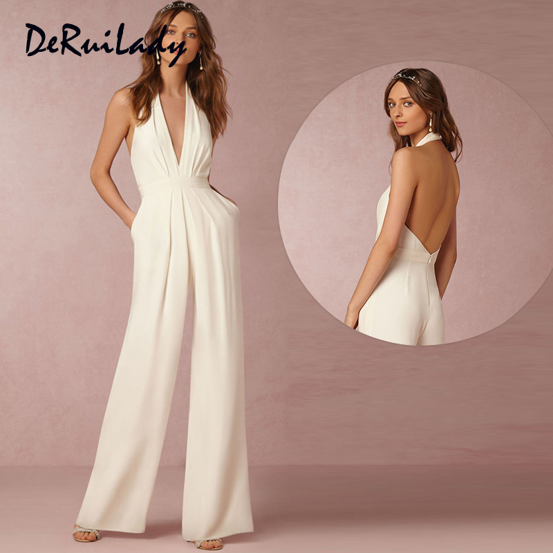 DERUILADY Sexy Backless Rompers Womens   Jumpsuit   V neck Sleeveless Bodysuit Elegant Party Bodycon Women Overalls Wide Leg Pant
