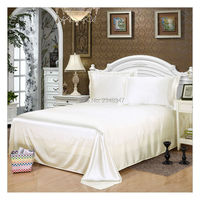 Luxury Smooth Soft Silky Home Hotel Satin Twin/Full/Queen/King Size Flat Sheet Bed Cover Solid Color White Flounce round edge