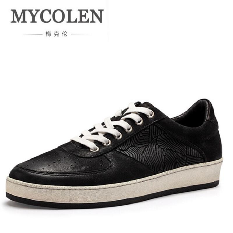MYCOLEN Brand Men Casual Shoes Fashion Male Shoes Adult Mens Footwear Lace up Patchwork Pattern autumn Shoes Chaussures Homme mycolen casual shoes men genuine leather shoes soft comfortable male footwear men s shoes brand black loafers mocassin homme