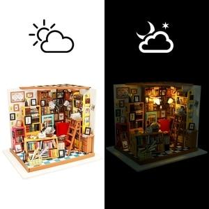 Image 2 - Robotime لتقوم بها بنفسك دمية سام غرفة الدراسة الخشب مصغرة نموذج مجموعات الديكور هدية عيد ميلاد للفتيات