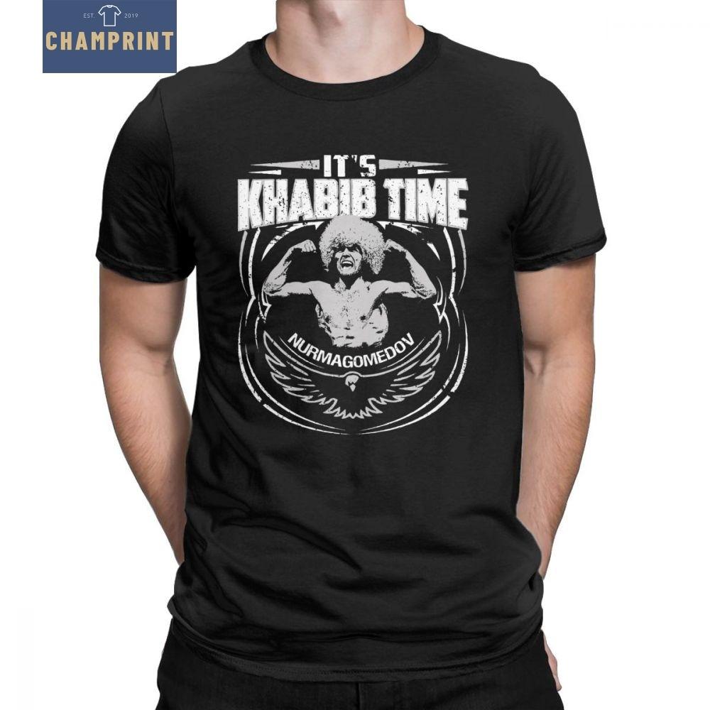 Khabib Nurmagomedov T Shirt Men MMA Fighter Dagestan Russia Graphic Clothes Short Sleeve Vintage T-Shirts O Neck Cotton Tees