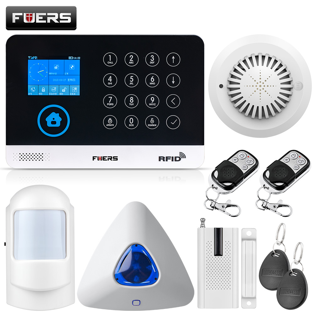 FUERS WG11 433MHz Wireless GSM Home Alarm System LCD Touch Screen WiFi GSM Siren Security System RFID Motion PIR Smoke Sensor yobang security lcd screen 433mhz remote control home security system gsm alarm system wireless pir motion door window sensor