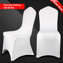 Awillhome White Spandex Chair Cover 200gsm 170gsm 150gsm For Wedding Event Party Home Decoration Flat/Arch 100 Pcs