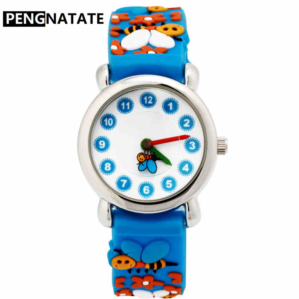 PENGNATATE Children Watches Fashion Cartoon Honeybee Quartz Watch Cute 3D Silicone Bracelet Wristwatch for Kids Boys Girls Gifts fashion brand children quartz watch waterproof jelly kids watches for boys girls students cute wrist watches 2017 new clock kids