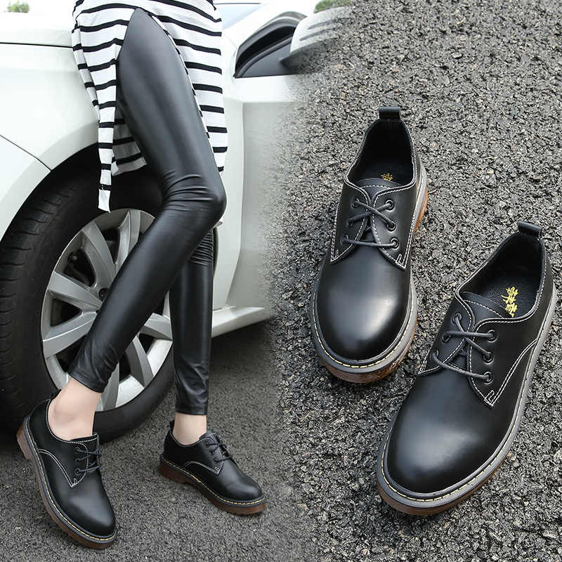 British style round toe leather shoes woman oxford flat heel derby shoes plus size 34-43 creepers lace up vintage brogue shoes