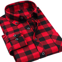 Flannel Men Plaid Shirts 2014 New Arrival Autumn Luxury Slim Long Sleeve Brand Formal Business Fashion