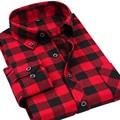 VFan Flannel Men Plaid Shirts 2016 New Autumn Luxury Slim Long Sleeve Brand Formal Business Fashion Dress Warm Shirts E1203