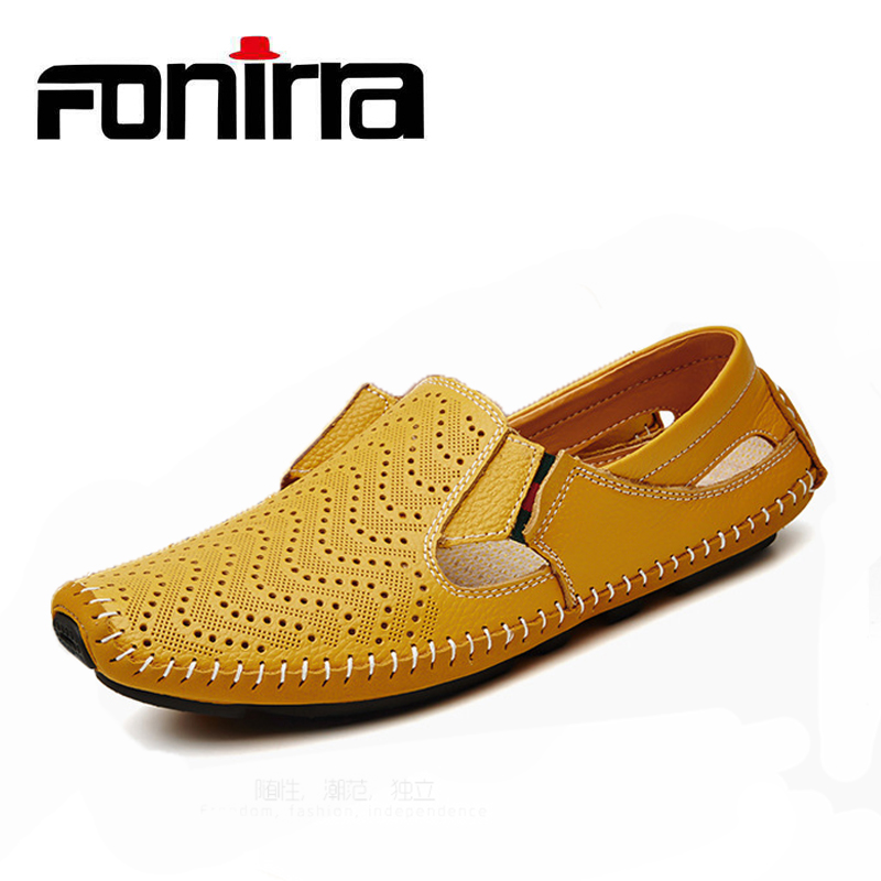 FONIRRA Hot Sale Summer Shoes Men Fashion Genuine Leather Plus Size 38-47 Men Shoes Slip On Casual Driving Shoes 826