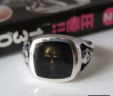 Imported Japanese tide silver 925 sterling silver Thailand ms male skull ring punk style