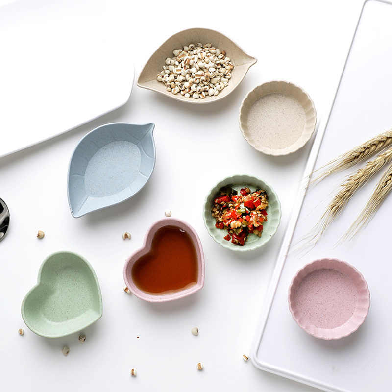 4 가지 유형 4 개/대/세트 소형 친환경 접시 밀짚 소금 식초 소스 향료 접시 저녁 식사 아침 식사 플레이트 2019 신규