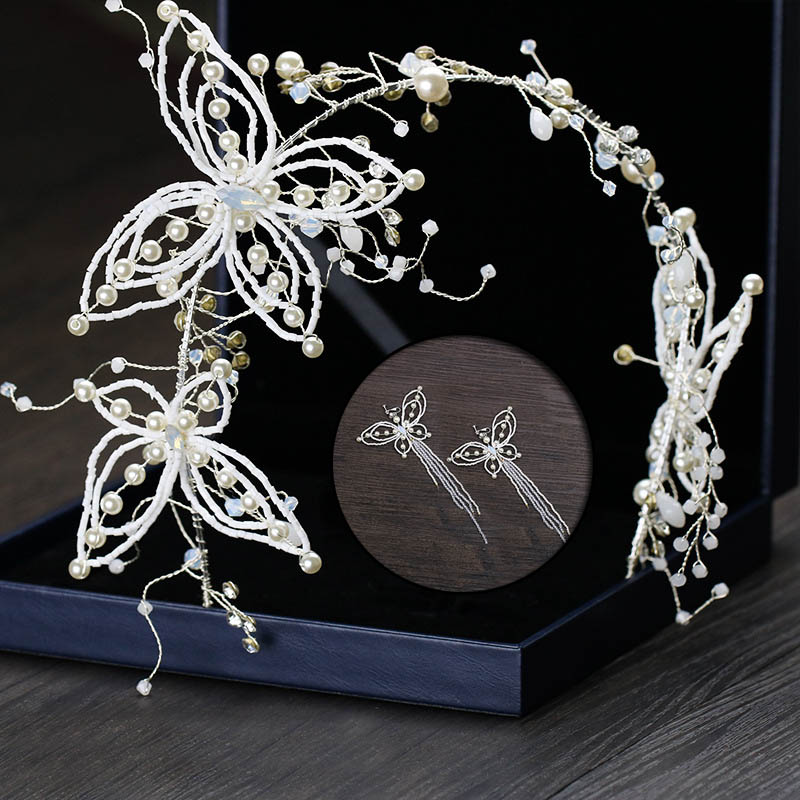 Luxurious Hairband White Pearl Bride Wedding Party Headpiece Butterfly Necklace Earrings Hair Accessories Jewelry Sets LB