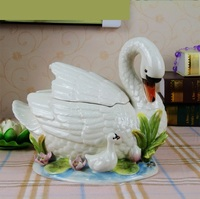 Boutique керамика для мамы и ребенка Лебеди фигурка элементов банку хранения и организатор декоративные фарфоровый контейнер Craft фарфор
