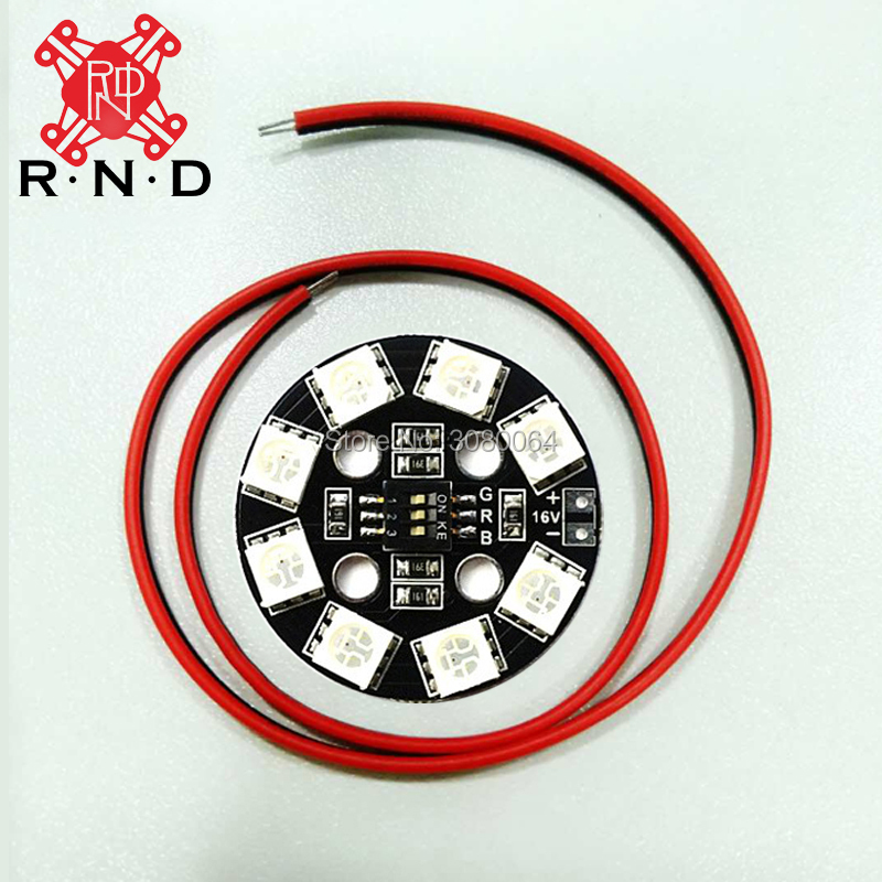High-quality 4 pieces 7 Color RGB RGB5050 LED Round Circle Board 5050 X8/16V X6/12V Drone LED for FPV RC Multicopter F17710 ZMR full color 8 x 8 led rgb matrix screen driver board