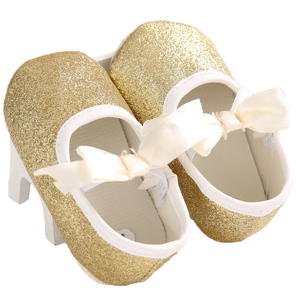 KiDaDndy Glitter Toddler Baby Shoes Flash Gold Bow Soft Bottom Sneaker Anti-Slip Soft Sole Toddler Shoes YEW312