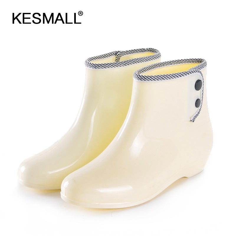 autumn fashionable female boots short barrel with cashmere boots overshoes slip shoes dualpurpose water garden