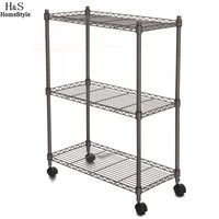 Homdox 23.4 x 11.7 x 33.5 inch 3-Tier Metal Wire Shelf Shelving Unit Modern Household Rack Rolling Cart Rack with Wheels N30*