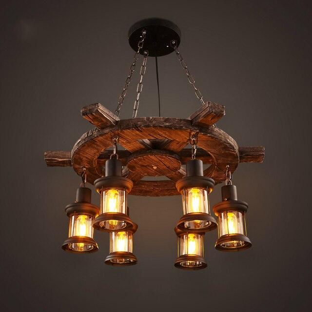 Industrial Lighting Restaurant: American Retro Industrial Pendant Lights 6 Head Old Boat