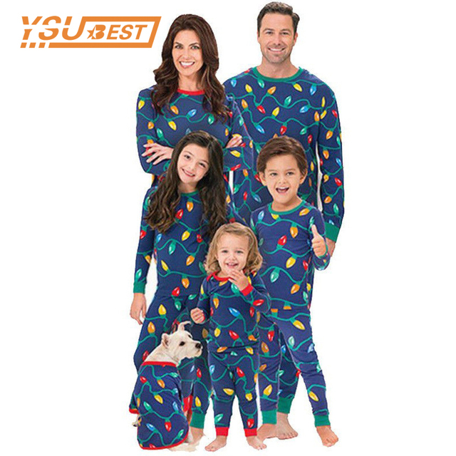 2018 Family Matching Christmas Pajamas Sets Kids Gift Adult Xmas Sleepwear  Nightwear Clothing Family Colored Lights Clothes Set bf77797d1