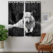 Blackout Curtains Darkening 2 Panels Grommet Window Curtain for Bedroom Lonely White Wolf In The Forest