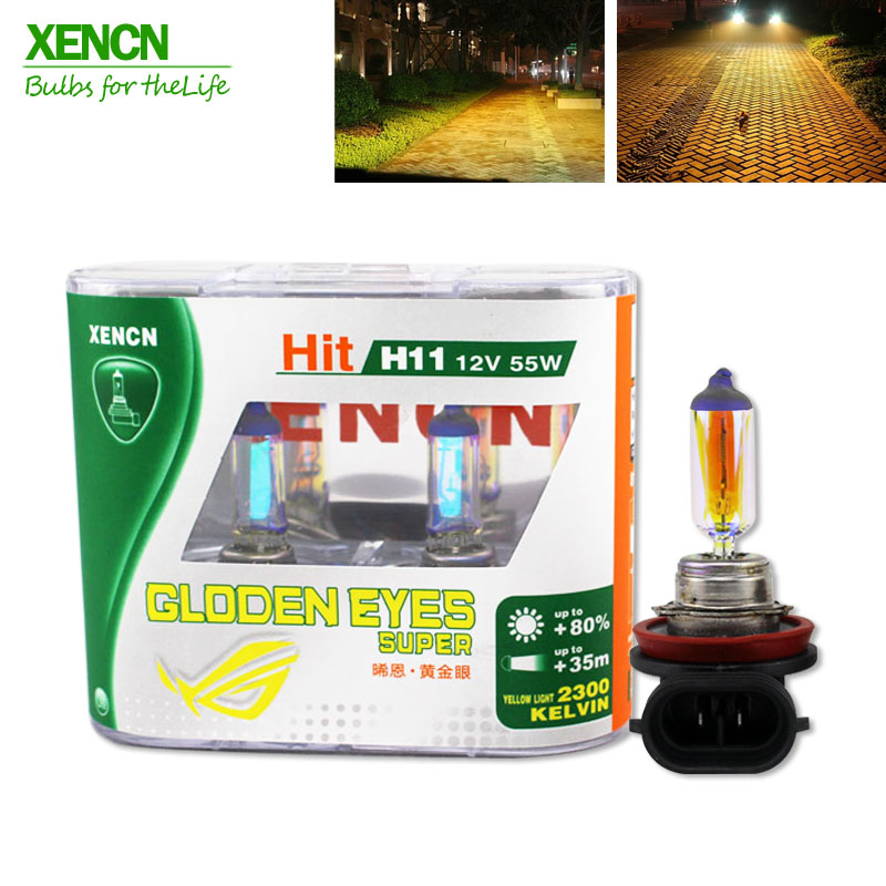 XENCN H11 12V 55W PGJ19-2 2300K Golden Eyes Super Yellow Light Halogen E1 DOT Car Bulbs Fog Lamp for mercedes toyata honda xencn 9008 h13 12v 60 55w 5300k blue diamond light car bulbs headlight xenon look halogen lamp for chevrolet cruze hummer