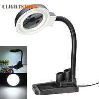 Crafts Glass Lens LED Desk Magnifier Lamp Light 5X 10X Magnifying Desktop Loupe Repair Tools with 40 LEDs Stand