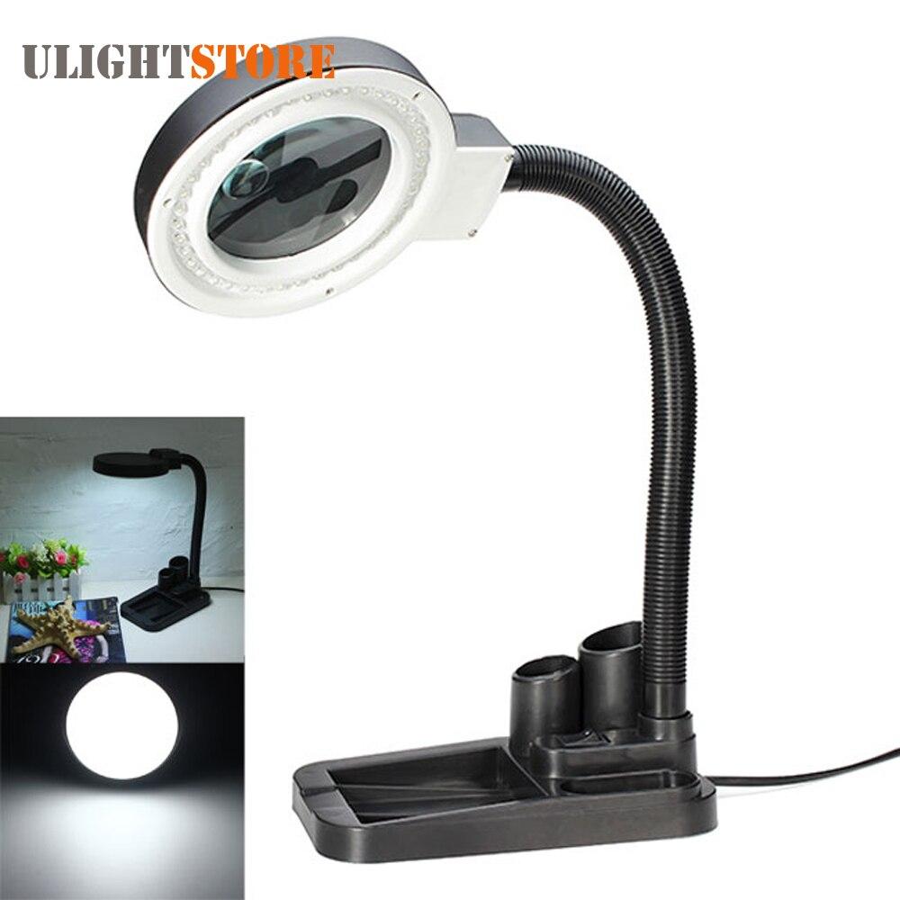 La artesanía de la Lente de Cristal de escritorio LED lupa lámpara de luz 5X 10X lupa escritorio lupa reparación herramientas con 40 LEDs soporte