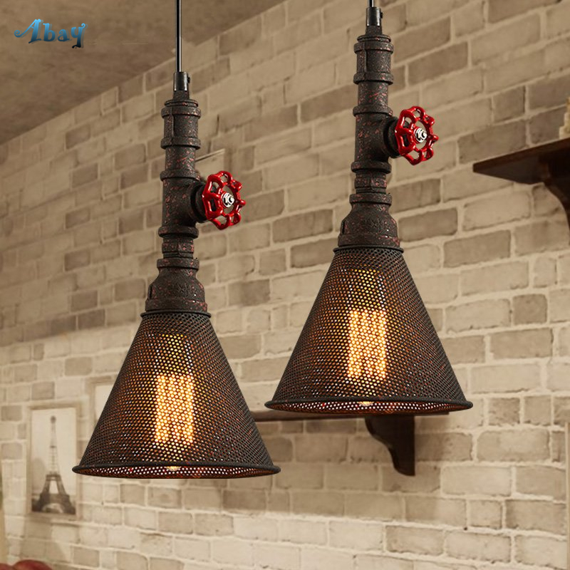 Vintage Industry Wind Water Pipe Iron Mesh Pendant Lights Retro Led Hanging Lamp for Bar Dining Room Industrial Decor FixtureVintage Industry Wind Water Pipe Iron Mesh Pendant Lights Retro Led Hanging Lamp for Bar Dining Room Industrial Decor Fixture