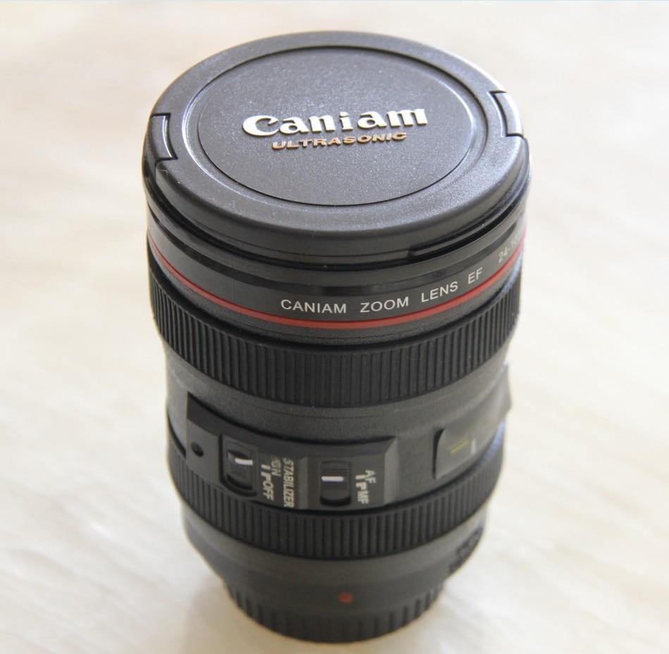 Neue kaffee objektiv emulation kamera bierkrug wein mit deckel schwarz plastic cup & caniam logo tassen tazas cafe