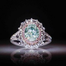 rings for women Crystal engagement ring color crystal Christmas gift Lady Green jewelry lady Cubic Zircon kiss wi
