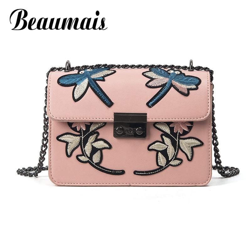 Beaumais Embroidery Pu Leather Women Messenger Bags Women Leather Handbags Chain Shoulder Crossbody Bags For Women