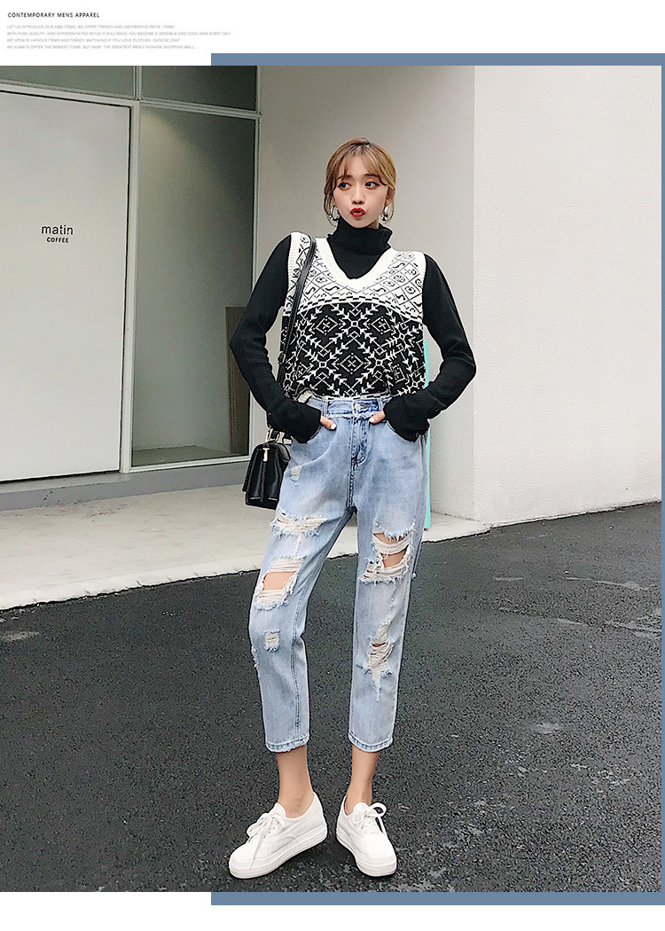 Blue Loose Vintage High Waist Ripped Jeans For Women 29