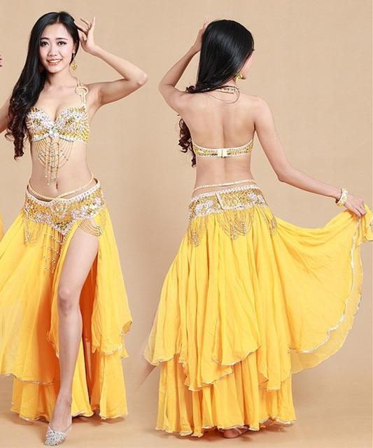ad8c598854 3-Piece Arabic Princess Oriental Dance Costume For Belly Dance Bling Bling  Bead Bra+Belt+Skirt India Girl White Free Shipping