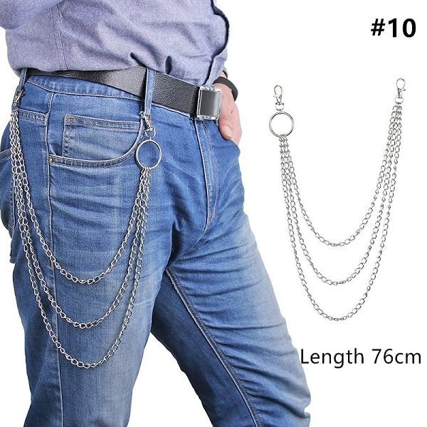 1 шт., длинные брюки, хипстерские брелки, панк-улица, большое кольцо, металлический кошелек, пояс, цепь, штаны, брелок, унисекс, хип-хоп ювелирные изделия, хороший подарок - Цвет: 76cm
