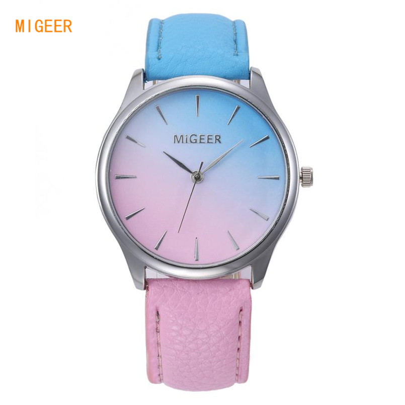MIGEER Fashion Women Watch Canvas Brand Gradient Color Analog Quartz Wrist Watch Female Ladies Casual Sport Watches relogio analog watch
