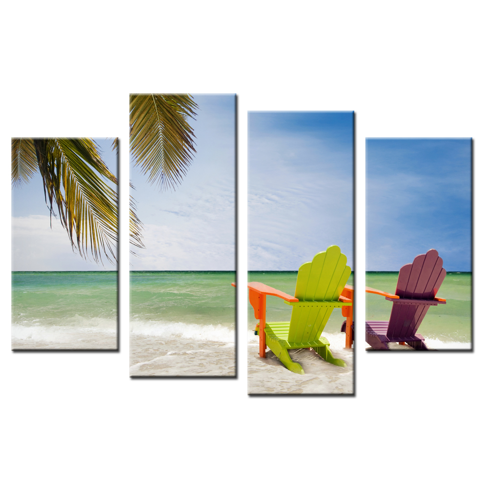 4 Panel Modern Picture Seaside Beach Home Decoration Wall Decor Painting Print On Canvas Art Print Poster HD Printed