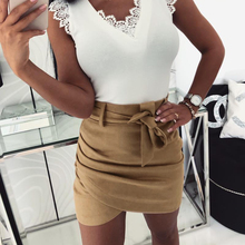 Kimuise 2019 mini high waist skirts wrap belted bandage women sexy summer skirts grommet belted waist plaid wrap skirt